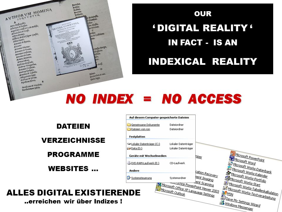 NO INDEX = NO ACCESS DATEIEN VERZEICHNISSE PROGRAMME WEBSITES...