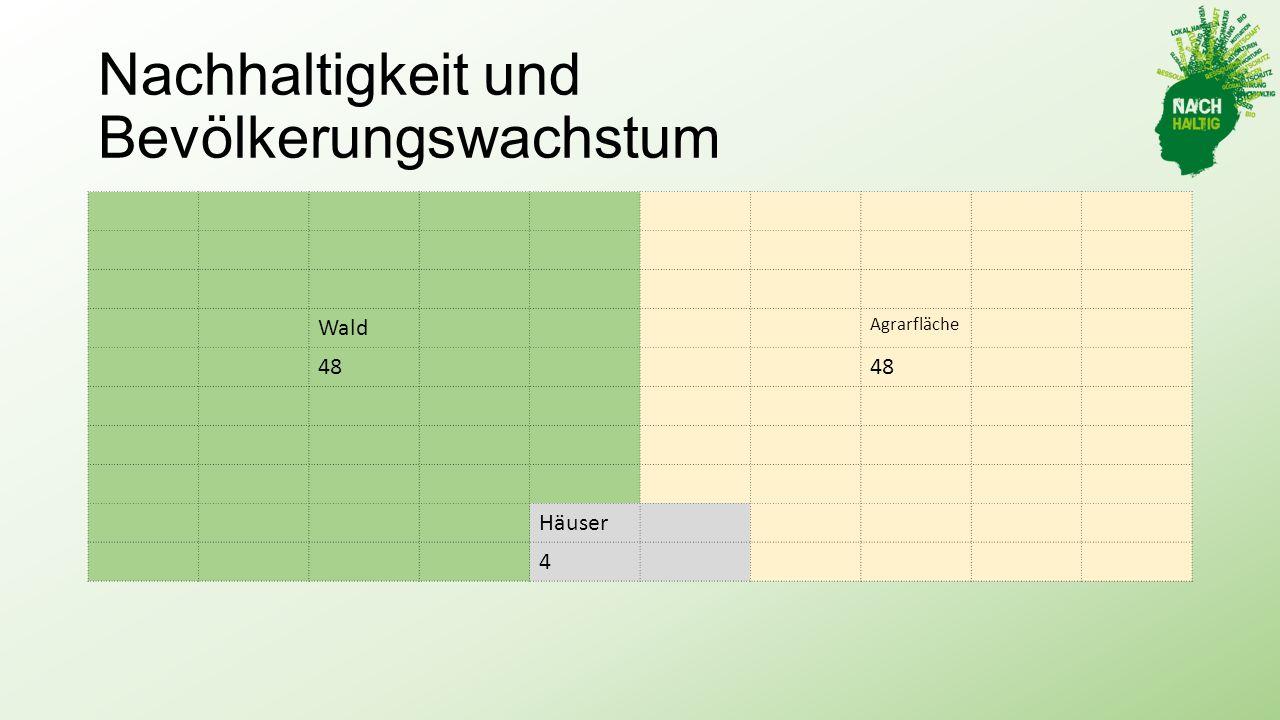 Nachhaltigkeit und Bevölkerungswachstum Wald Agrarfläche 48 Häuser 4