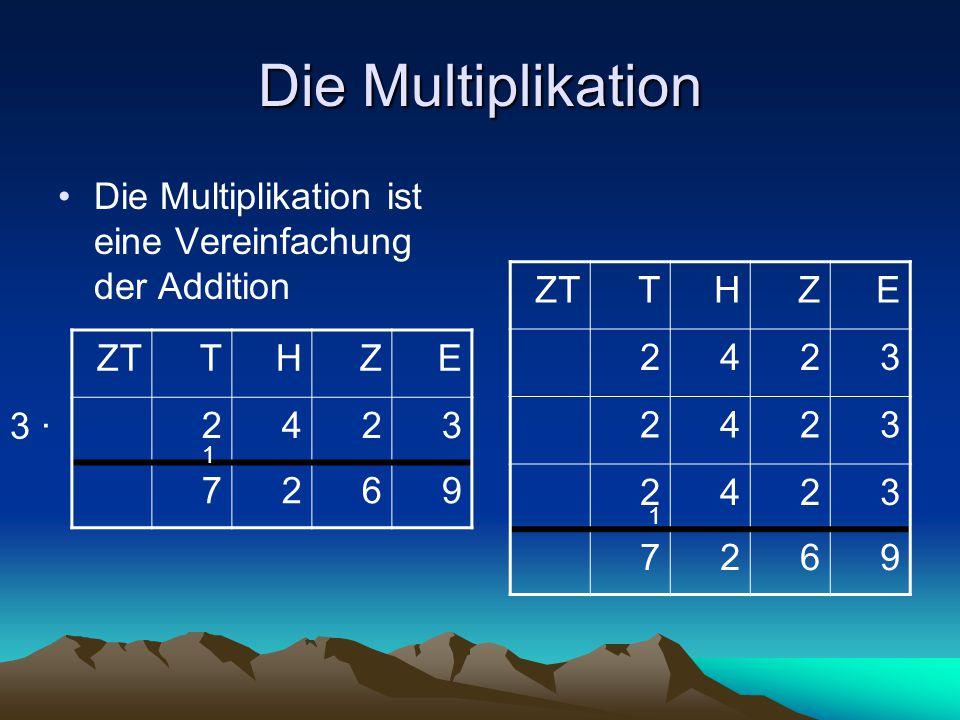 Die Multiplikation Die Multiplikation ist eine Vereinfachung der Addition ZTTHZE 2423 2423 2423 7269 THZE 2423 7269 3 ∙ 1 1