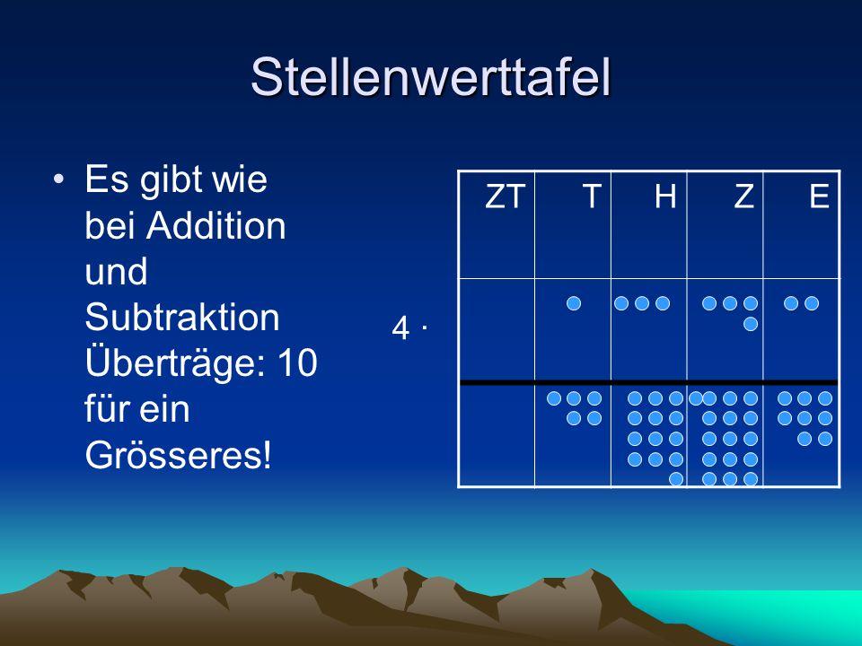 Stellenwerttafel Es gibt wie bei Addition und Subtraktion Überträge: 10 für ein Grösseres! ZTTHZE 4 ∙