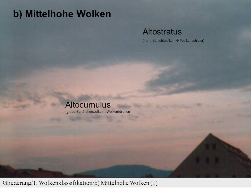 GliederungGliederung/1. Wolkenklassifikation/a) Hohe Wolken (1)1. Wolkenklassifikation a) Hohe Wolken Cirrocumulus  ganz kleine Schäfchenwolken Cirru