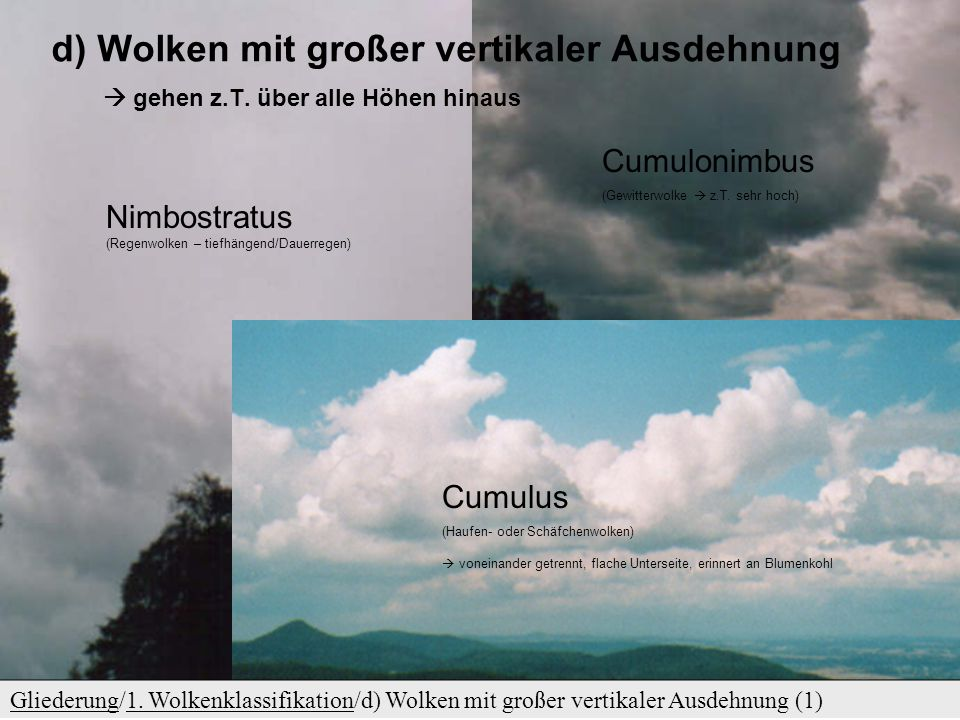 c) Tiefe Wolken GliederungGliederung/1. Wolkenklassifikation/c) Tiefe Wolken (1)1. Wolkenklassifikation Stratocumulus (tiefe – Haufenschichtwolken) St