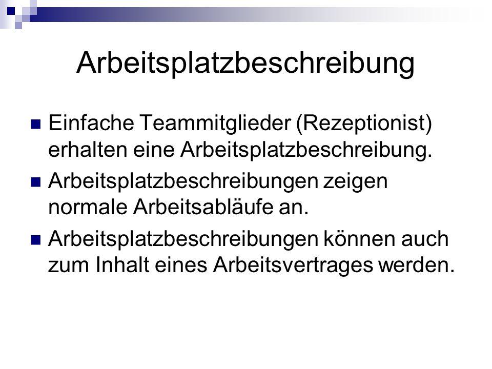 Arbeitsplatzbeschreibung Einfache Teammitglieder (Rezeptionist) erhalten eine Arbeitsplatzbeschreibung.