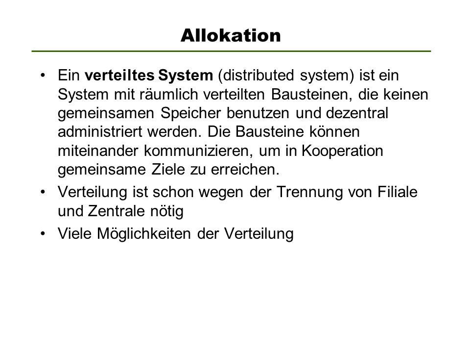 Allokation Ein verteiltes System (distributed system) ist ein System mit räumlich verteilten Bausteinen, die keinen gemeinsamen Speicher benutzen und