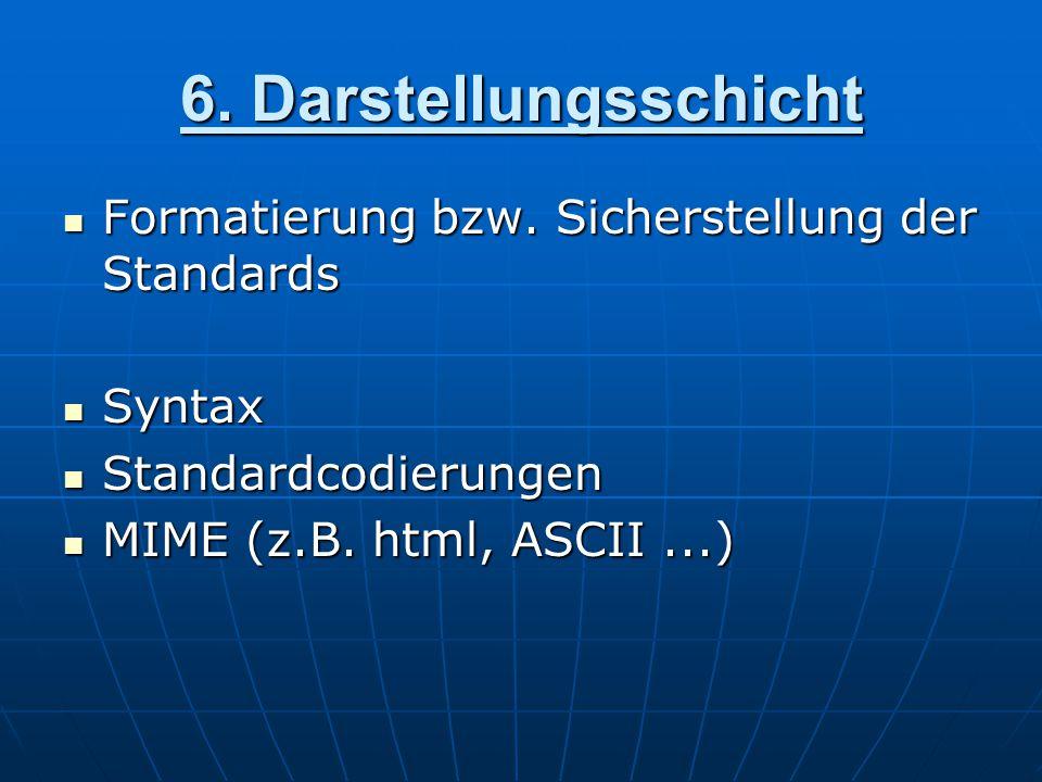 6. Darstellungsschicht Formatierung bzw. Sicherstellung der Standards Formatierung bzw. Sicherstellung der Standards Syntax Syntax Standardcodierungen
