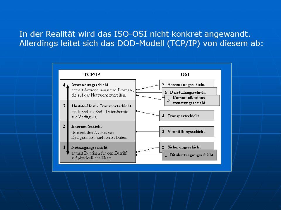 In der Realität wird das ISO-OSI nicht konkret angewandt. Allerdings leitet sich das DOD-Modell (TCP/IP) von diesem ab: