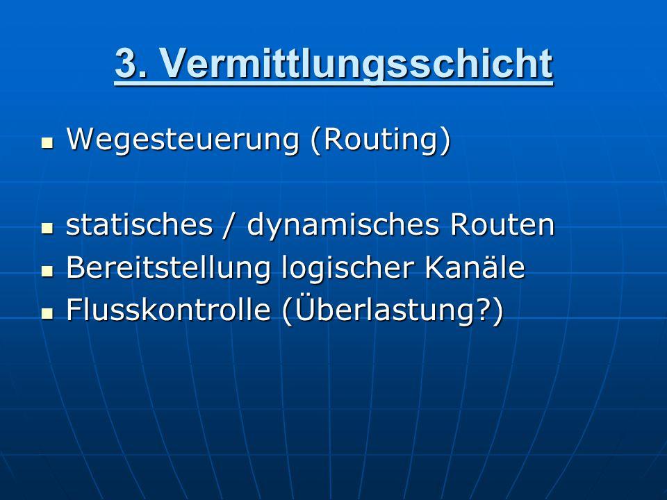 3. Vermittlungsschicht Wegesteuerung (Routing) Wegesteuerung (Routing) statisches / dynamisches Routen statisches / dynamisches Routen Bereitstellung