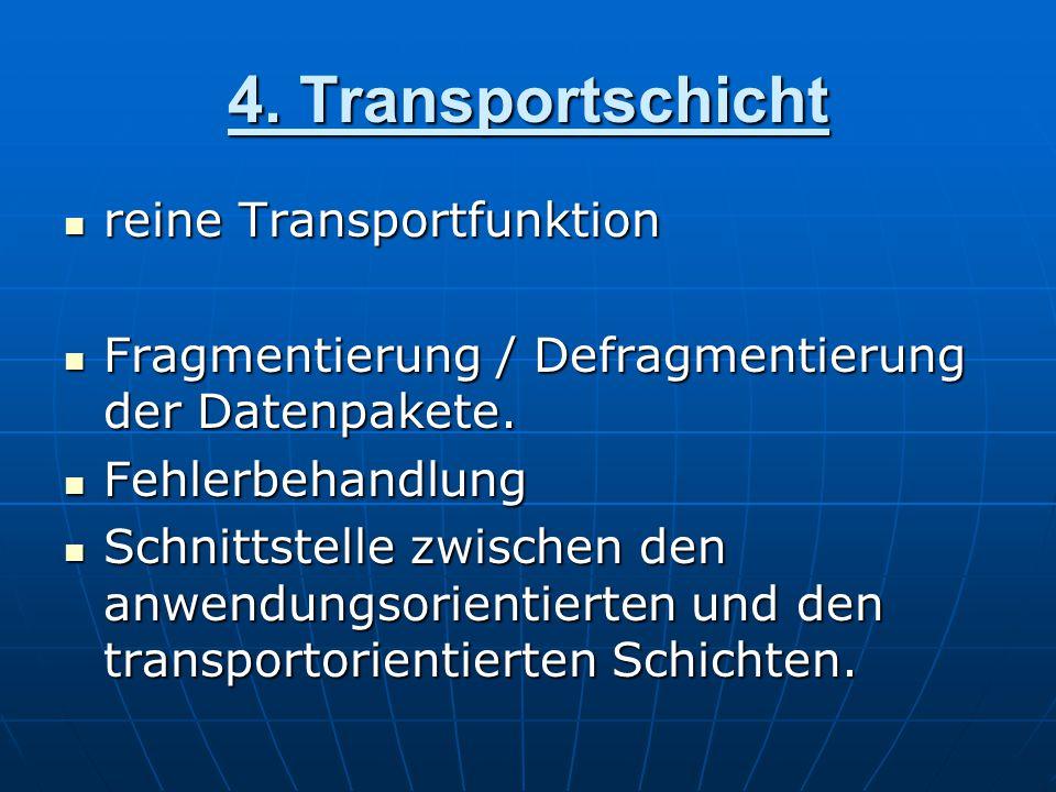 4. Transportschicht reine Transportfunktion reine Transportfunktion Fragmentierung / Defragmentierung der Datenpakete. Fragmentierung / Defragmentieru