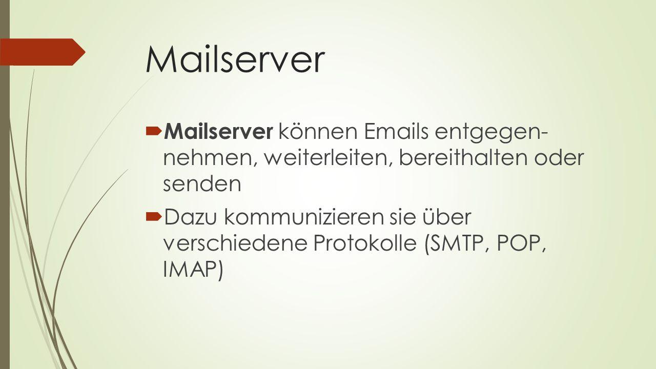 Mailserver  Mailserver können Emails entgegen- nehmen, weiterleiten, bereithalten oder senden  Dazu kommunizieren sie über verschiedene Protokolle (
