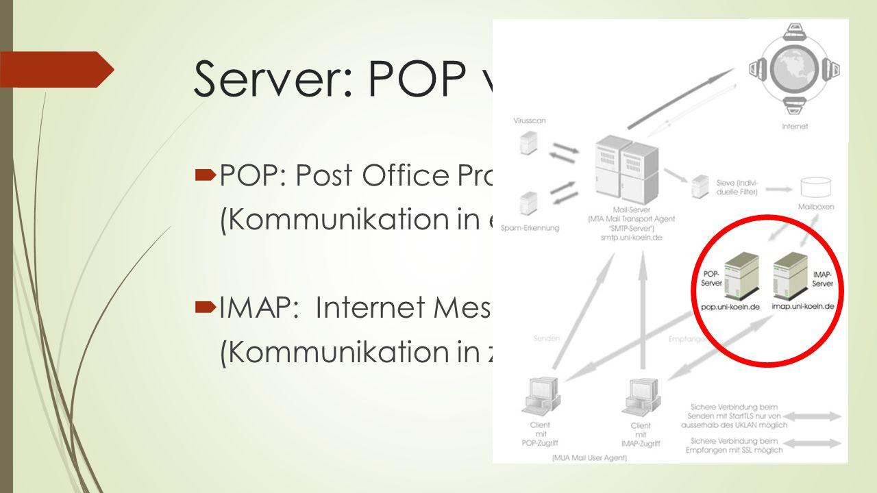POPIMAP ein Endgerät mehrere Endgeräte vollständiger Download der Mails Speichern der Mails auf dem Server + wenig Speicherplatz nötig + keine permanente Internetverbindung nötig + abrufbar von beliebig vielen Endgeräten - keine Wiederbeschaffungs- möglichkeit - Abrufen der Mails dauert etwas länger - keine Synchronisation