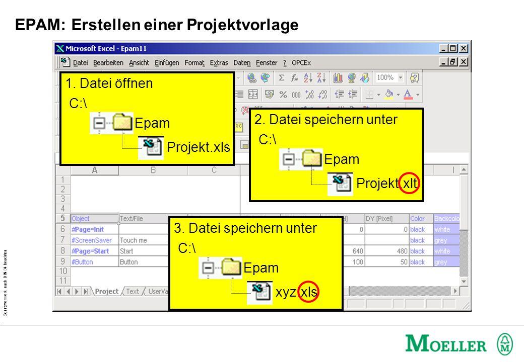 Schutzvermerk nach DIN 34 beachten EPAM: Erstellen einer Projektvorlage Epam C:\ Projekt.xls 1.