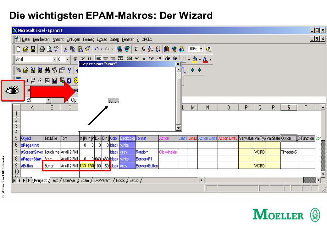 Schutzvermerk nach DIN 34 beachten Die wichtigsten EPAM-Makros: Der Wizard Button 150