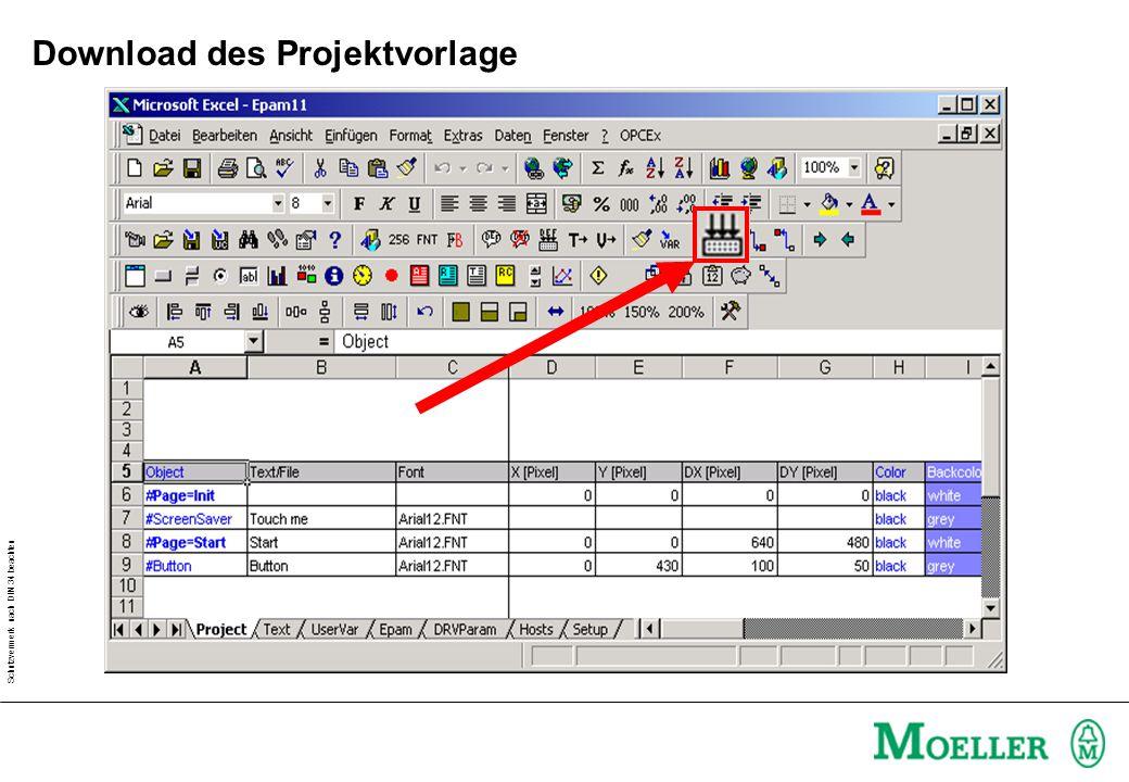 Schutzvermerk nach DIN 34 beachten Download des Projektvorlage
