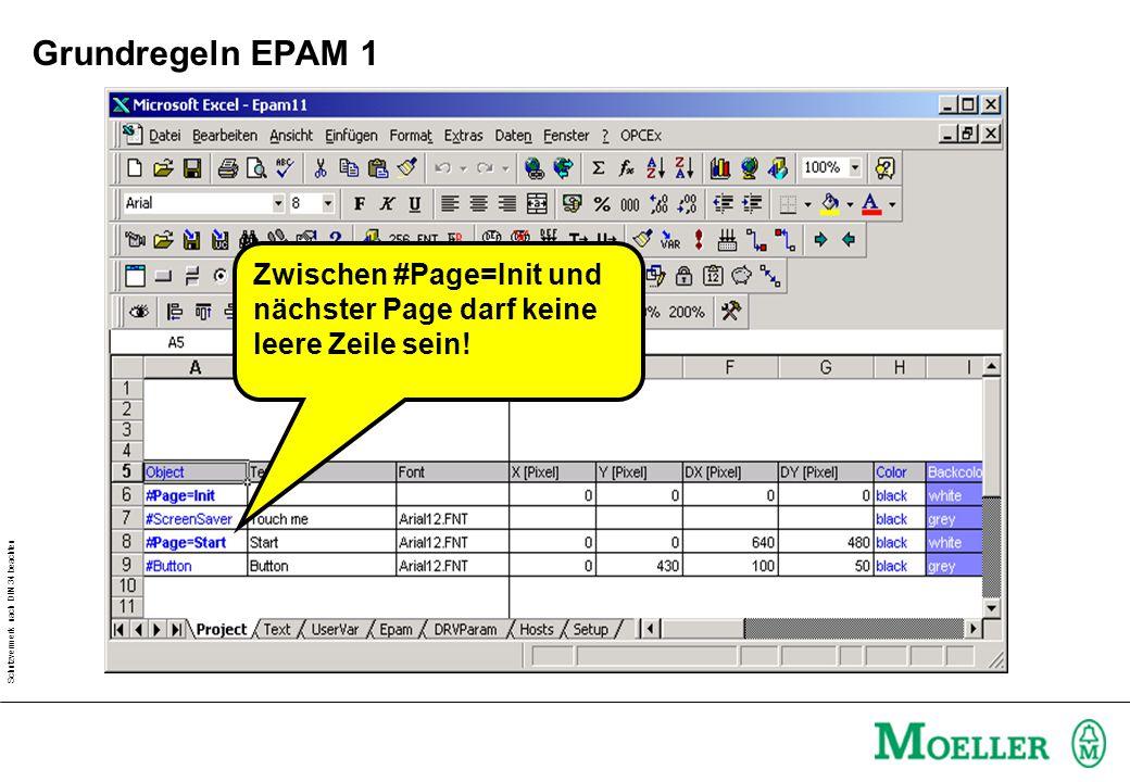 Schutzvermerk nach DIN 34 beachten Grundregeln EPAM 1 Zwischen #Page=Init und nächster Page darf keine leere Zeile sein!