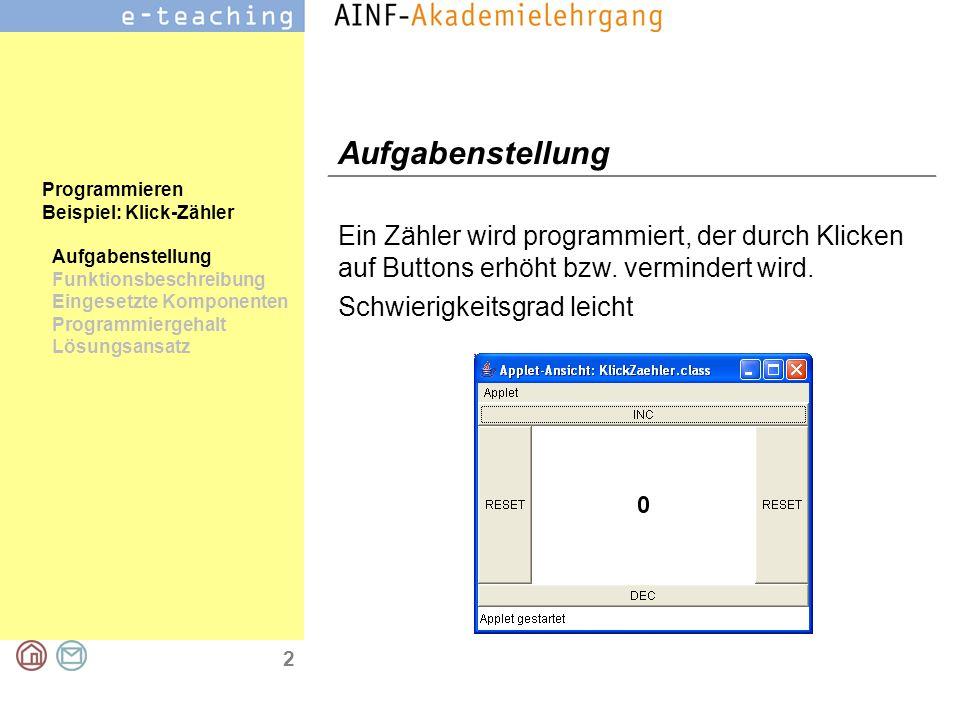 2 Programmieren Beispiel: Klick-Zähler Aufgabenstellung Funktionsbeschreibung Eingesetzte Komponenten Programmiergehalt Lösungsansatz Aufgabenstellung Ein Zähler wird programmiert, der durch Klicken auf Buttons erhöht bzw.