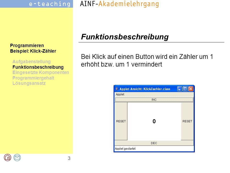 3 Programmieren Beispiel: Klick-Zähler Aufgabenstellung Funktionsbeschreibung Eingesetzte Komponenten Programmiergehalt Lösungsansatz Funktionsbeschreibung Bei Klick auf einen Button wird ein Zähler um 1 erhöht bzw.