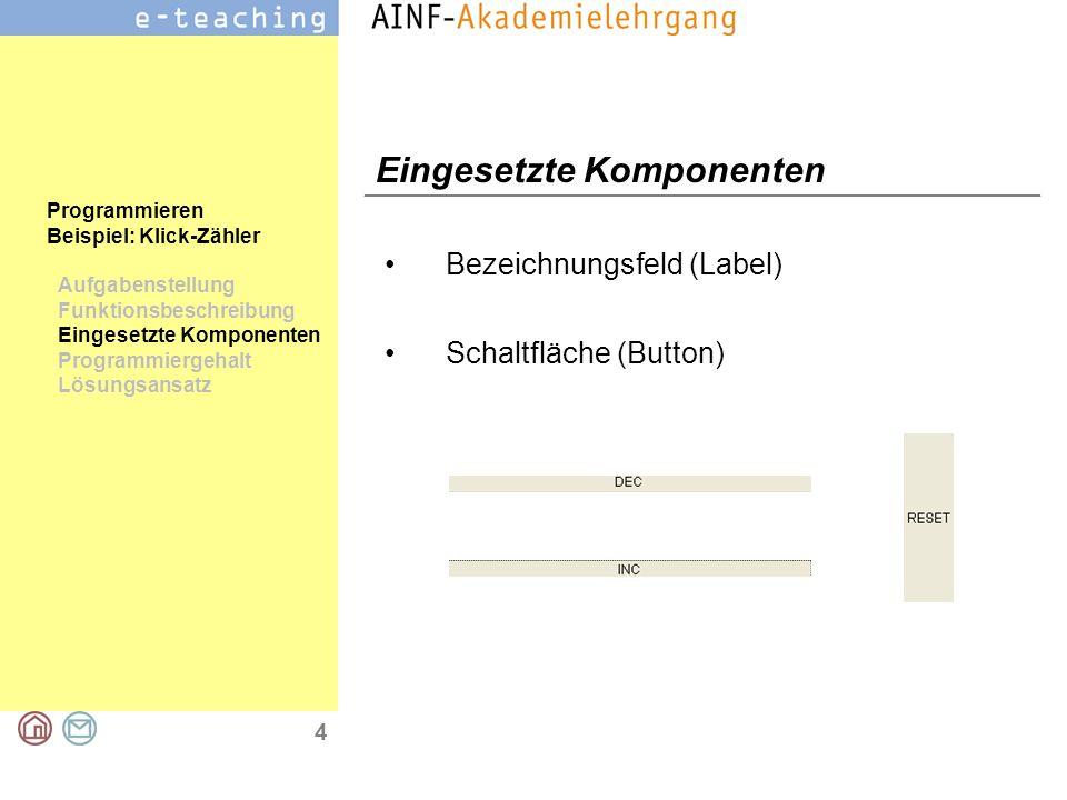 4 Programmieren Beispiel: Klick-Zähler Aufgabenstellung Funktionsbeschreibung Eingesetzte Komponenten Programmiergehalt Lösungsansatz Eingesetzte Komponenten Bezeichnungsfeld (Label) Schaltfläche (Button)