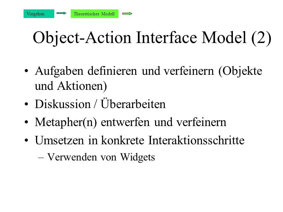 Object-Action Interface Model (2) Aufgaben definieren und verfeinern (Objekte und Aktionen) Diskussion / Überarbeiten Metapher(n) entwerfen und verfeinern Umsetzen in konkrete Interaktionsschritte –Verwenden von Widgets VorgehenTheoretisches Modell
