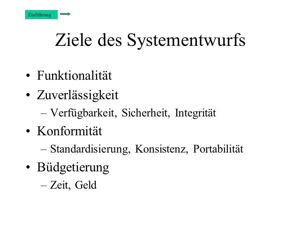Ziele des Systementwurfs Funktionalität Zuverlässigkeit –Verfügbarkeit, Sicherheit, Integrität Konformität –Standardisierung, Konsistenz, Portabilität Büdgetierung –Zeit, Geld Einführung