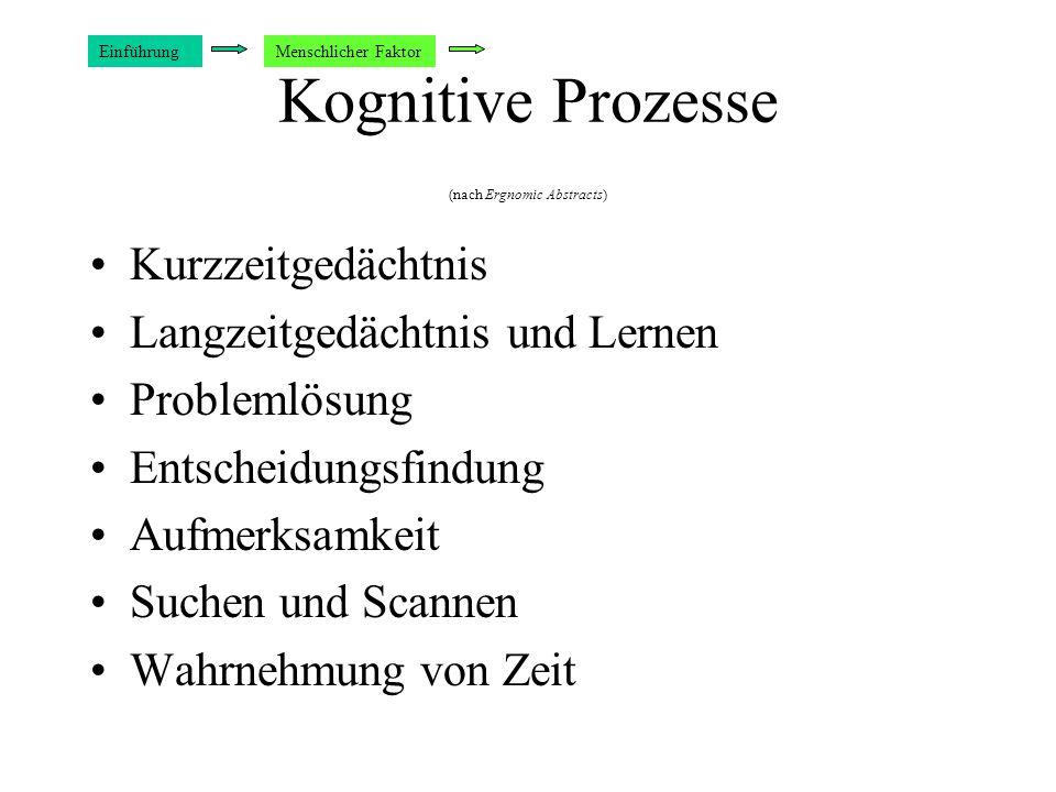Kognitive Prozesse (nach Ergnomic Abstracts) Kurzzeitgedächtnis Langzeitgedächtnis und Lernen Problemlösung Entscheidungsfindung Aufmerksamkeit Suchen und Scannen Wahrnehmung von Zeit EinführungMenschlicher Faktor