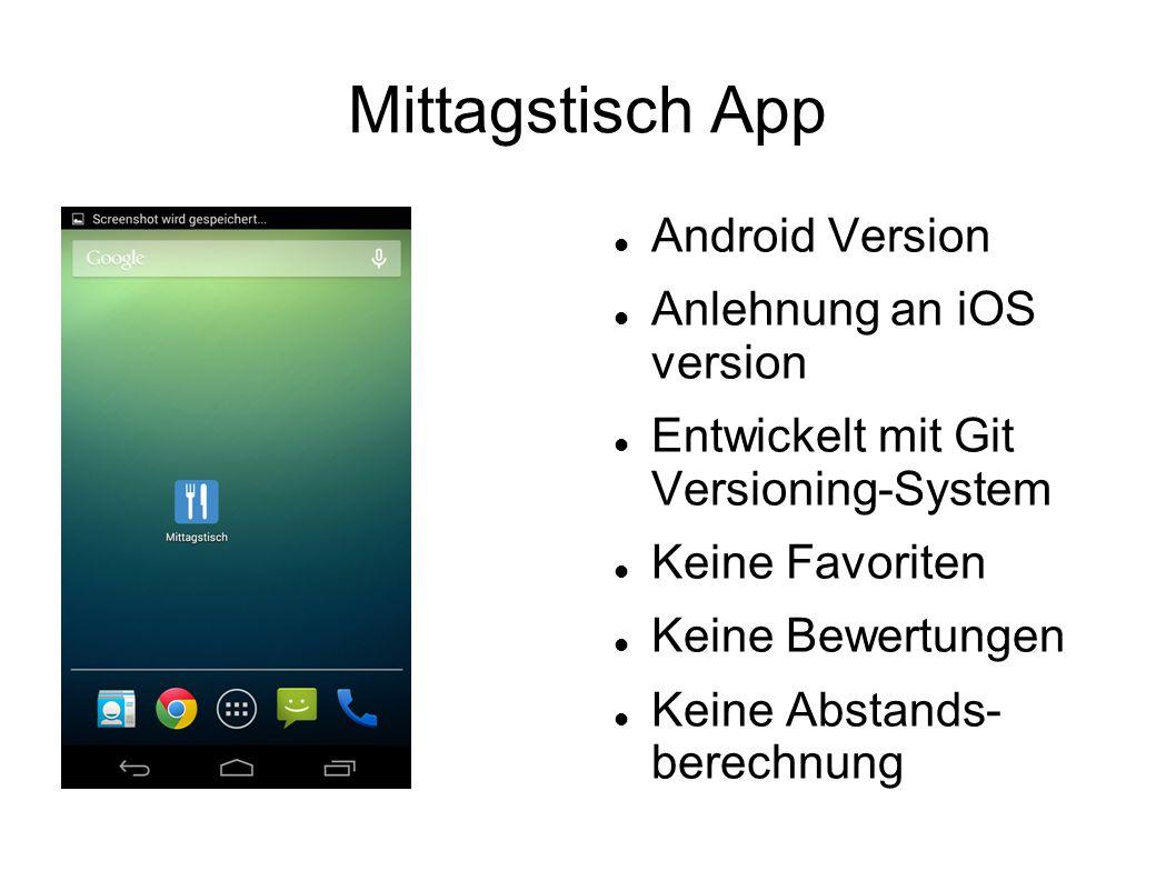 Mittagstisch App Android Version Anlehnung an iOS version Entwickelt mit Git Versioning-System Keine Favoriten Keine Bewertungen Keine Abstands- berechnung