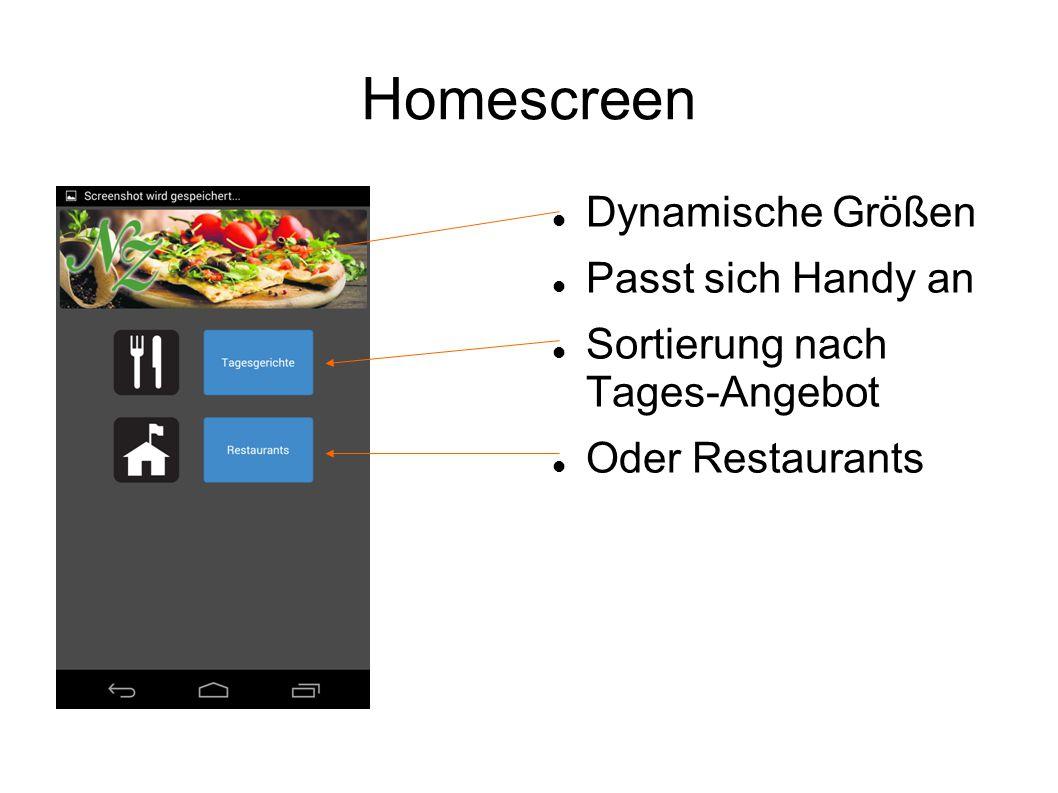 Homescreen Dynamische Größen Passt sich Handy an Sortierung nach Tages-Angebot Oder Restaurants