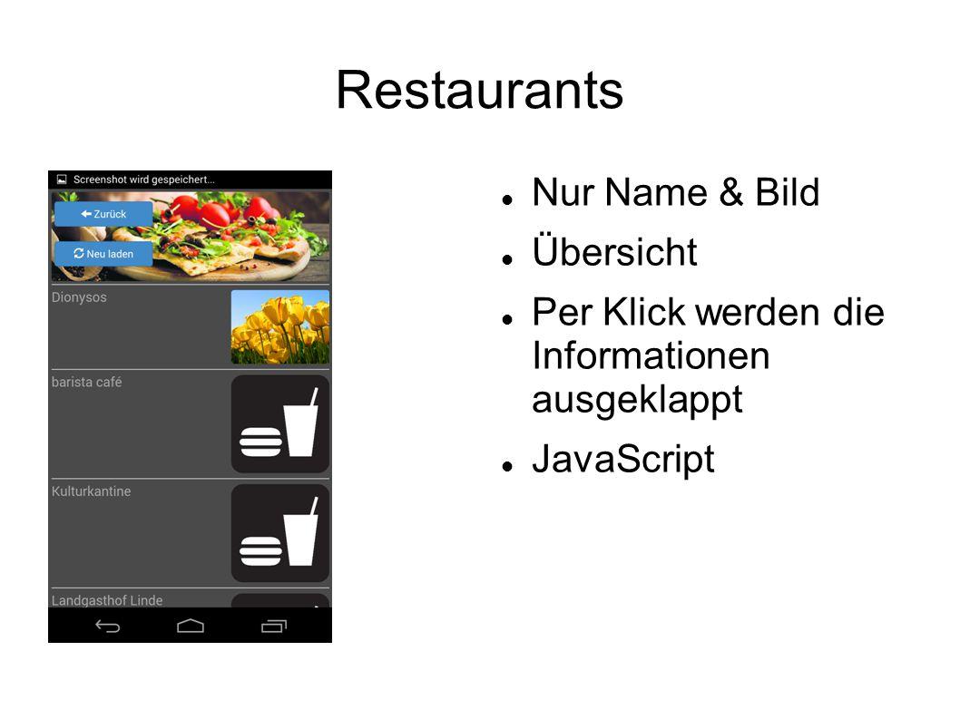 Restaurants - Aufgeklappt Button für Angebote Infos Adresse auf Karte markiert Zusatzinfos Keine eigene Seite, immer noch Restaurant Übersicht