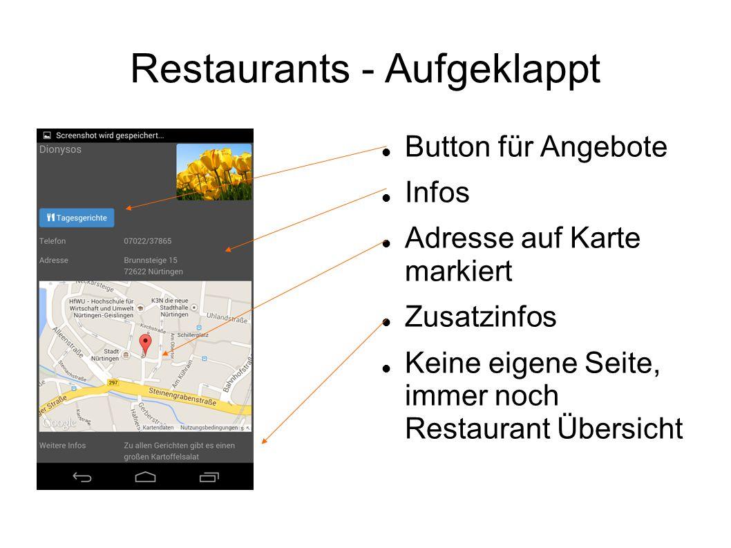 Restaurants - JavaScript Button klappt weiter Übersicht auf Möglichkeit zum Ein- und Ausblenden der Angebote pro Tag Aktueller Tag hervorgehoben und schon ausgeklappt