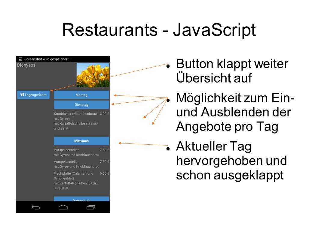 Restaurants - JavaScript Button klappt weiter Übersicht auf Möglichkeit zum Ein- und Ausblenden der Angebote pro Tag Aktueller Tag hervorgehoben und s