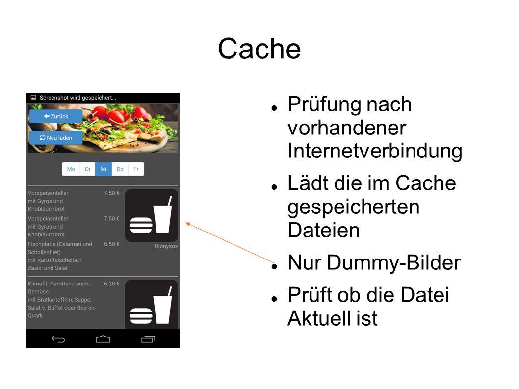 Cache Prüfung nach vorhandener Internetverbindung Lädt die im Cache gespeicherten Dateien Nur Dummy-Bilder Prüft ob die Datei Aktuell ist