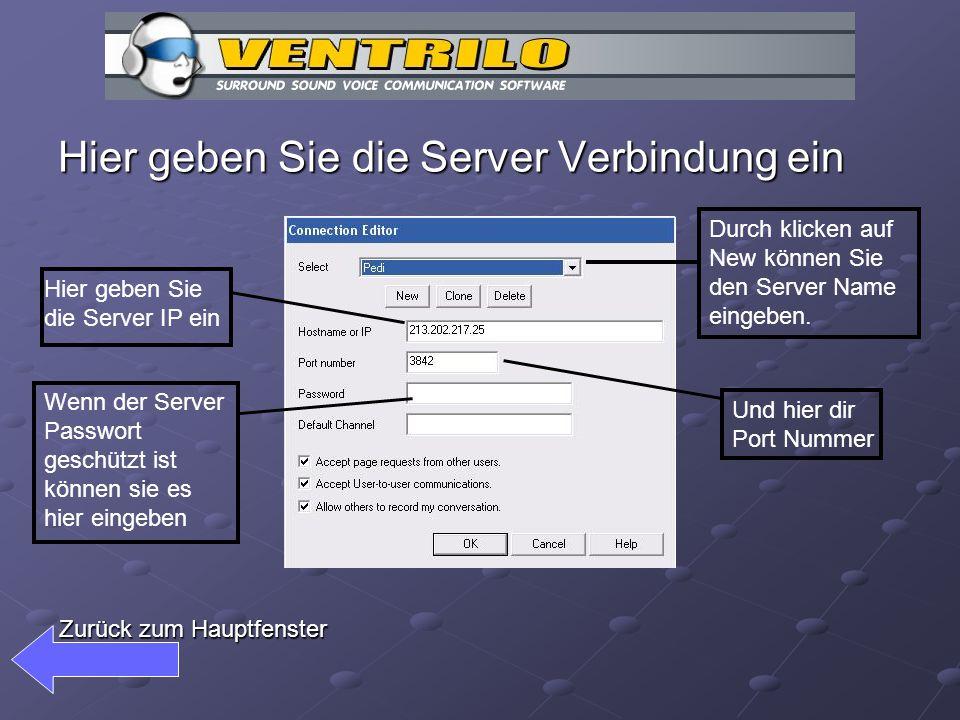 Hier geben Sie die Server Verbindung ein Durch klicken auf New können Sie den Server Name eingeben.