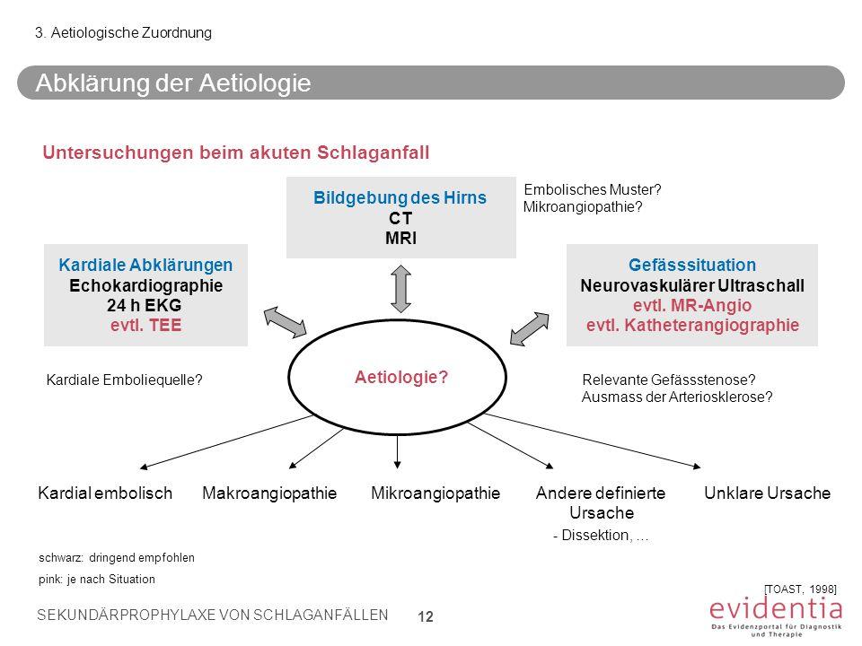 Abklärung der Aetiologie Kardial embolischMakroangiopathieMikroangiopathieAndere definierte Ursache - Dissektion, … Unklare Ursache 3. Aetiologische Z