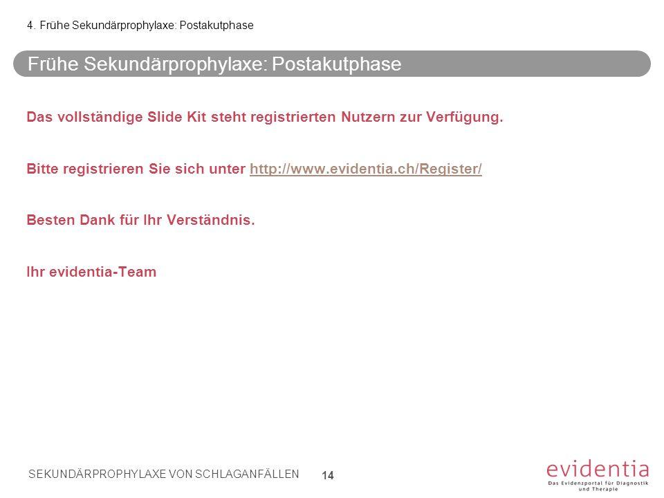 Frühe Sekundärprophylaxe: Postakutphase Das vollständige Slide Kit steht registrierten Nutzern zur Verfügung. Bitte registrieren Sie sich unter http:/