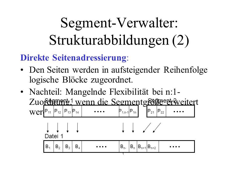 Segment-Verwalter: Strukturabbildungen (3) Indirekte Seitenadressierung: Zuordnung von Seitennummer zu Blocknummer wird über ein zwischengeschaltetes Verzeichnis (Seitentabelle) festgehalten.
