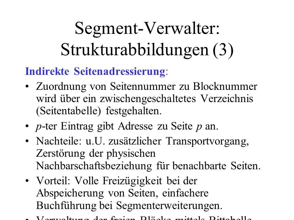 Segment-Verwalter: Strukturabbildungen (3) Indirekte Seitenadressierung: Zuordnung von Seitennummer zu Blocknummer wird über ein zwischengeschaltetes