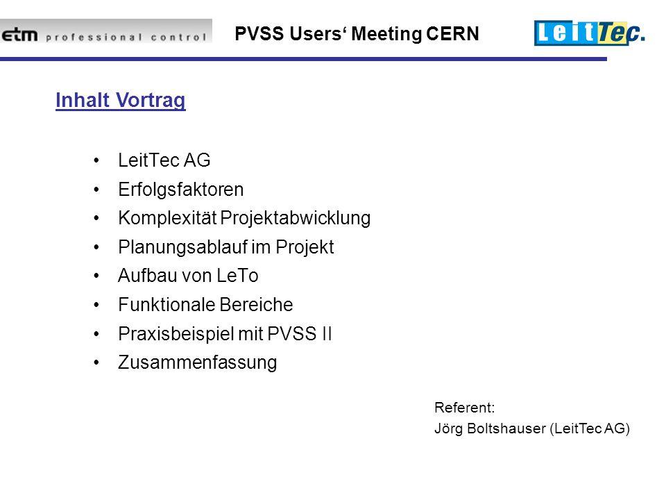 PVSS Users' Meeting CERN LeitTec AG Erfolgsfaktoren Komplexität Projektabwicklung Planungsablauf im Projekt Aufbau von LeTo Funktionale Bereiche Praxisbeispiel mit PVSS II Zusammenfassung Referent: Jörg Boltshauser (LeitTec AG) Inhalt Vortrag