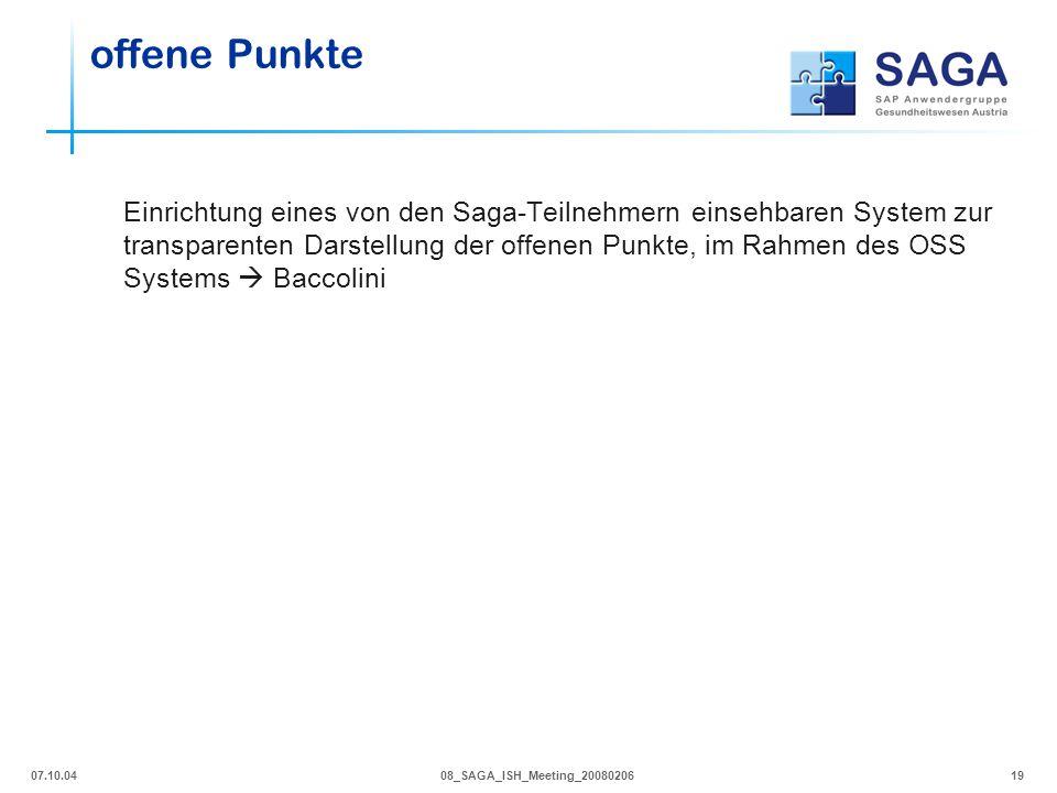 07.10.0408_SAGA_ISH_Meeting_2008020619 offene Punkte Einrichtung eines von den Saga-Teilnehmern einsehbaren System zur transparenten Darstellung der o