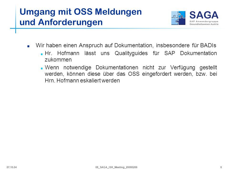 07.10.0408_SAGA_ISH_Meeting_200802066  Wir haben einen Anspruch auf Dokumentation, insbesondere für BADIs  Hr. Hofmann lässt uns Qualityguides für S