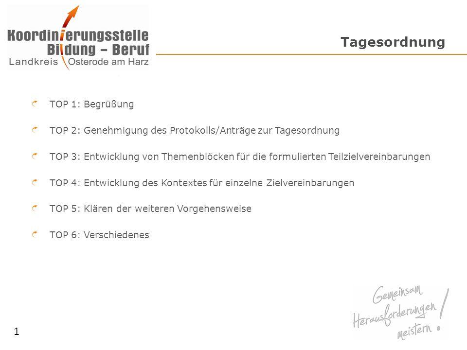 Tagesordnung TOP 1: Begrüßung TOP 2: Genehmigung des Protokolls/Anträge zur Tagesordnung TOP 3: Entwicklung von Themenblöcken für die formulierten Tei