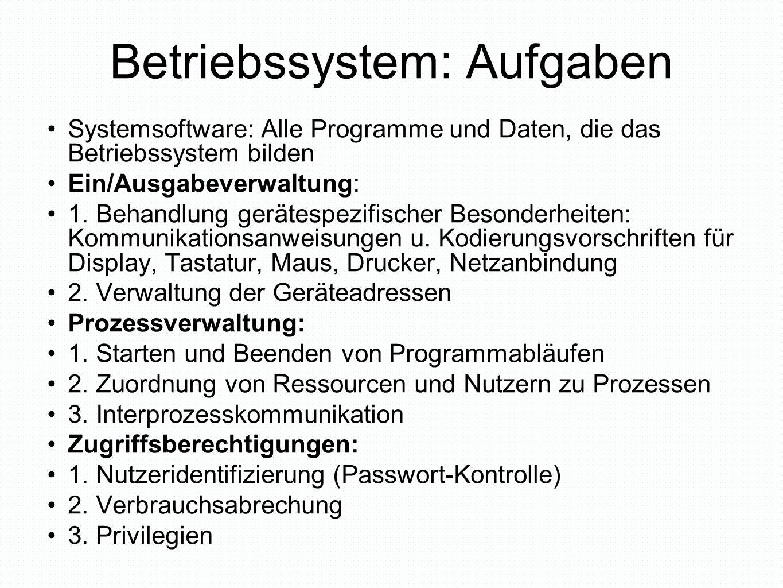 Betriebssystem: Aufgaben Systemsoftware: Alle Programme und Daten, die das Betriebssystem bilden Ein/Ausgabeverwaltung: 1. Behandlung gerätespezifisch