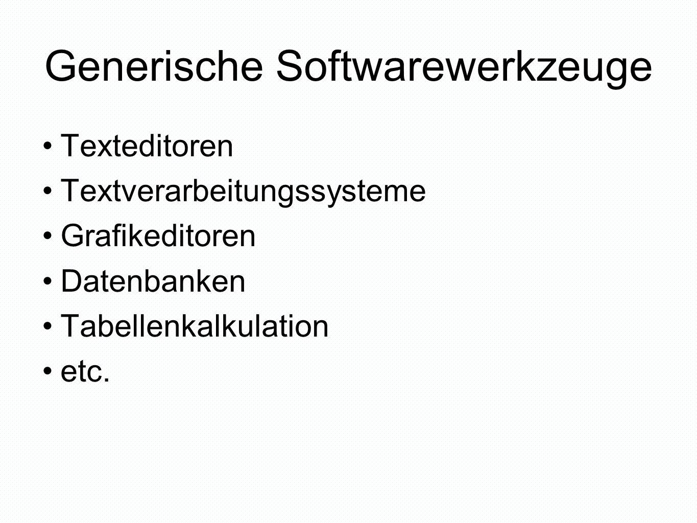 Generische Softwarewerkzeuge und ihre Anwendungen abhängig vom Betriebssystem BetriebssystemSoftwarewerkzeugAnwendung LinuxTextverarbeitung Datenbank LaTeX druid Apple – Mac OS XTextverarbeitung Datenbank Word X File Maker Pro MS WindowsTextverarbeitung Datenbank MS Word MS Access