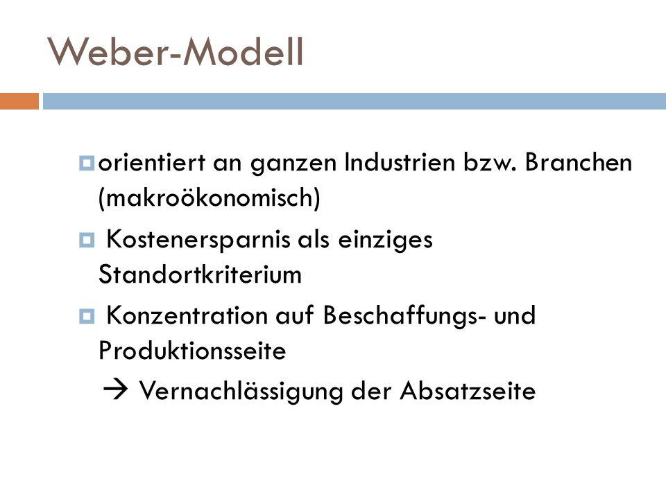 Weber-Modell  orientiert an ganzen Industrien bzw.