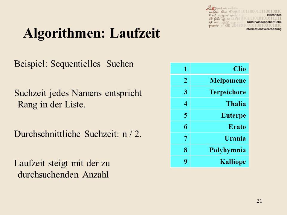 Beispiel: Sequentielles Suchen Suchzeit jedes Namens entspricht Rang in der Liste.
