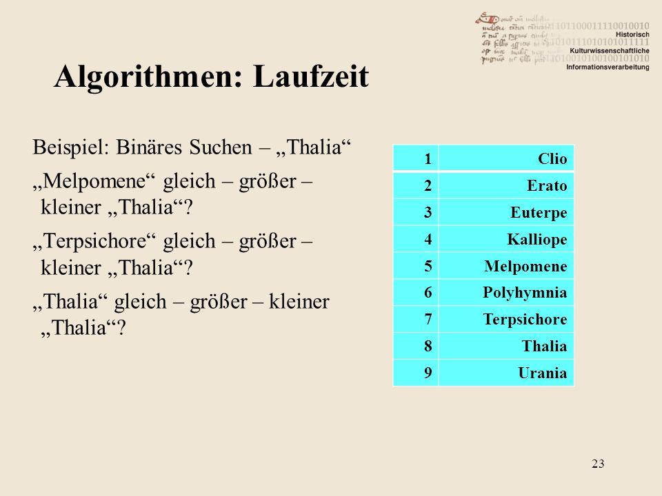 """Beispiel: Binäres Suchen – """"Thalia """"Melpomene gleich – größer – kleiner """"Thalia ."""