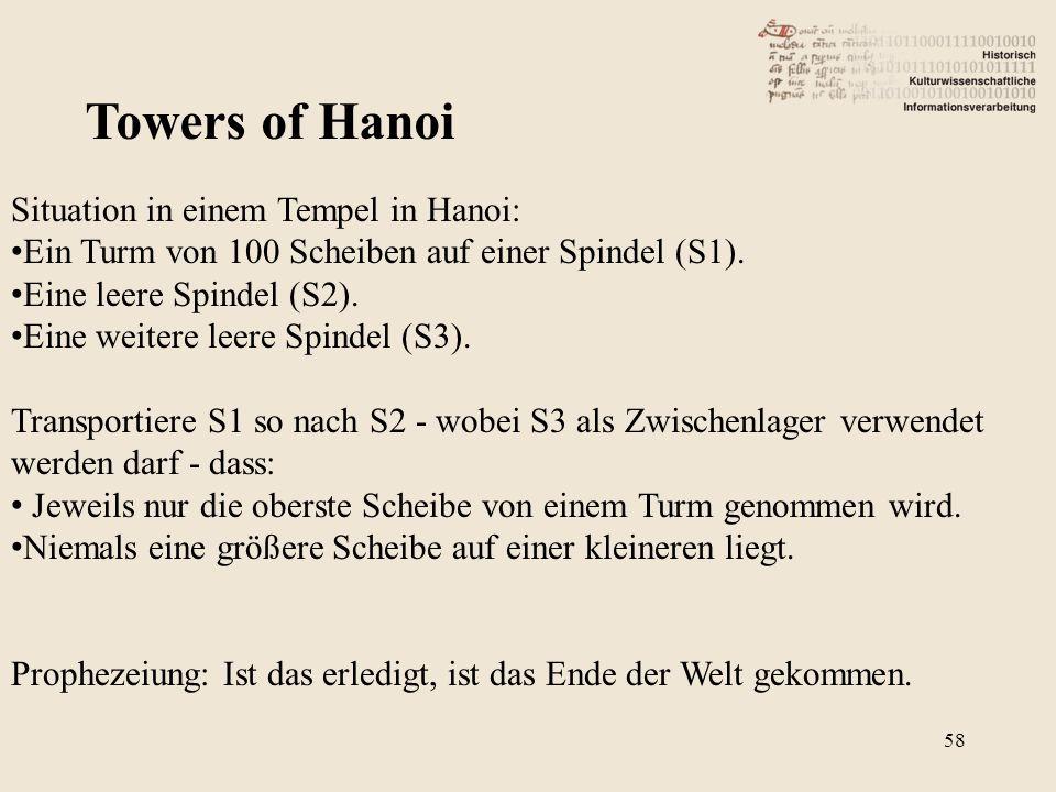 Towers of Hanoi Situation in einem Tempel in Hanoi: Ein Turm von 100 Scheiben auf einer Spindel (S1).