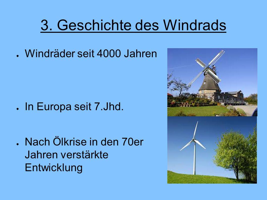 3.Geschichte des Windrads ● Windräder seit 4000 Jahren ● In Europa seit 7.Jhd.