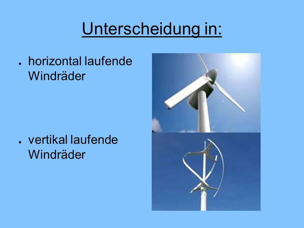 Unterscheidung in: ● horizontal laufende Windräder ● vertikal laufende Windräder