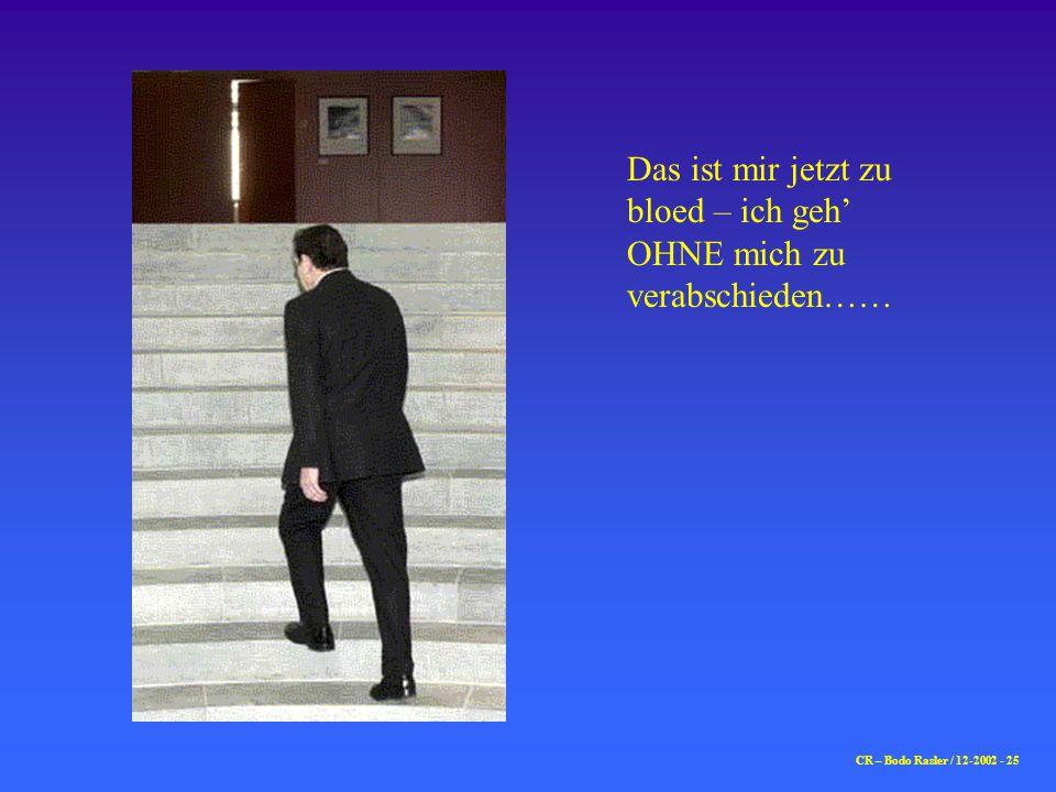 CR – Bodo Rasler / 12-2002 - 25 Das ist mir jetzt zu bloed – ich geh' OHNE mich zu verabschieden……