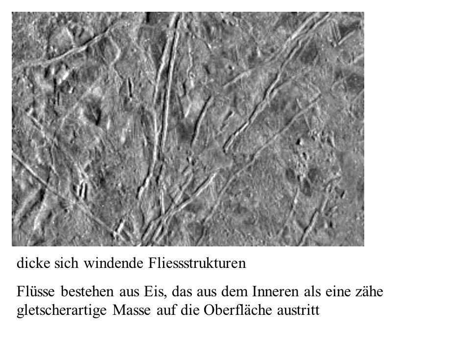 dicke sich windende Fliessstrukturen Flüsse bestehen aus Eis, das aus dem Inneren als eine zähe gletscherartige Masse auf die Oberfläche austritt