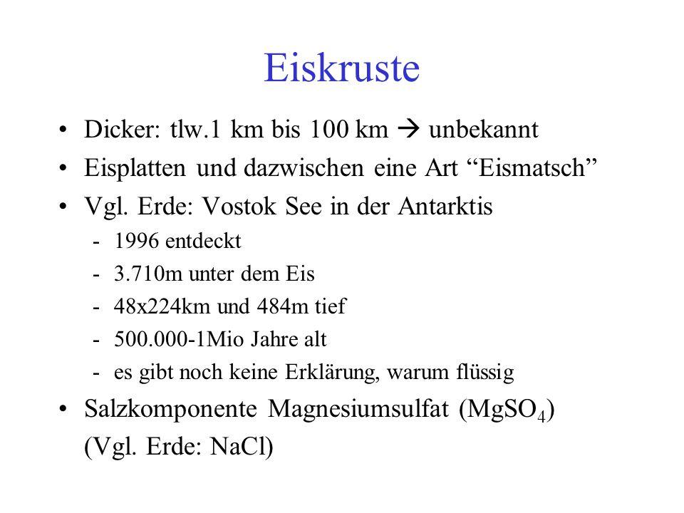 Eiskruste Dicker: tlw.1 km bis 100 km  unbekannt Eisplatten und dazwischen eine Art Eismatsch Vgl.